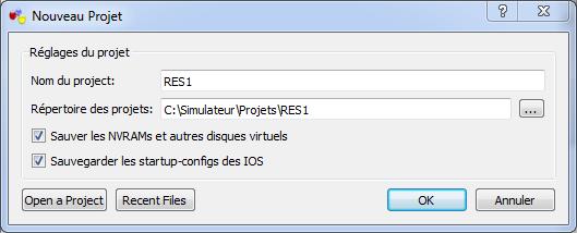 GNS3 - Nouveau Projet