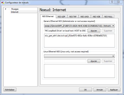 GNS3 - Configuration du noeud Internet
